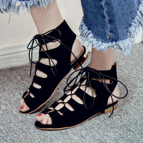 Best Flat Lace Up Ankle Peep Toe Sandals - 39 BLACK Mobile