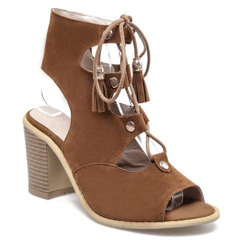 Trendy Slingback Lace Up Peep Toe Sandals - 39 BROWN Mobile