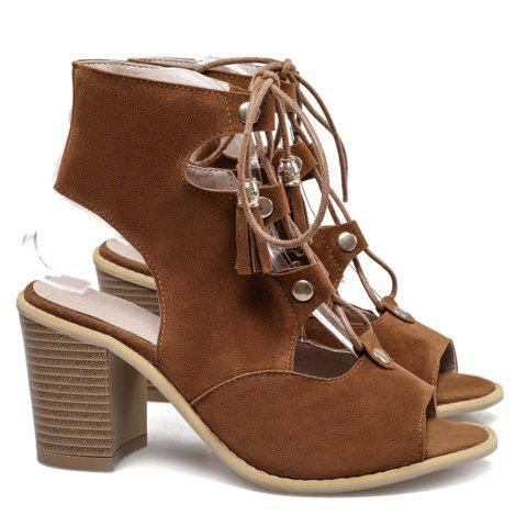 Trendy Slingback Lace Up Peep Toe Sandals - 38 BROWN Mobile