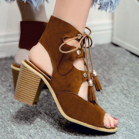 New Slingback Lace Up Peep Toe Sandals - 38 BROWN Mobile