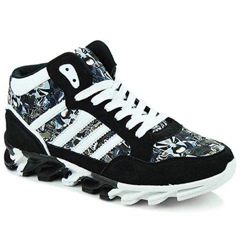 Shop Peking Opera Mask Pattern Suede Sneakers - 41 BLACK Mobile