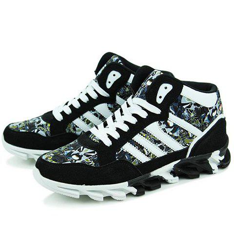 Chic Peking Opera Mask Pattern Suede Sneakers - 41 BLACK Mobile