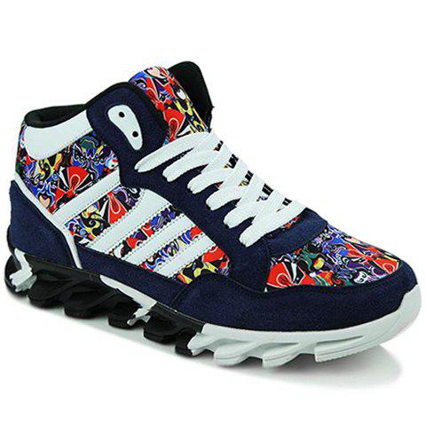 Trendy Peking Opera Mask Pattern Suede Sneakers - 44 BLUE Mobile