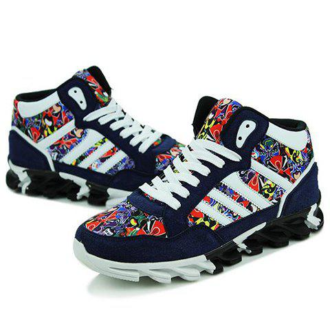 Chic Peking Opera Mask Pattern Suede Sneakers - 44 BLUE Mobile