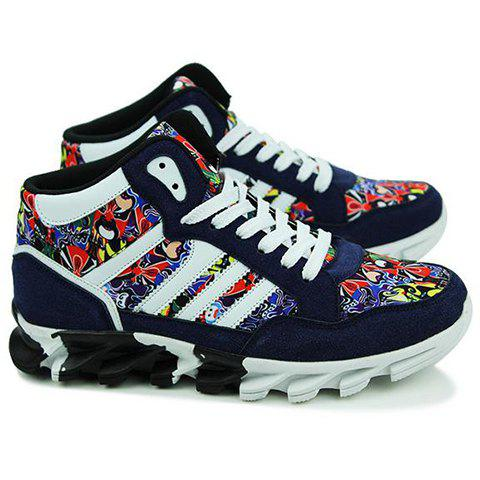 Outfits Peking Opera Mask Pattern Suede Sneakers - 43 BLUE Mobile