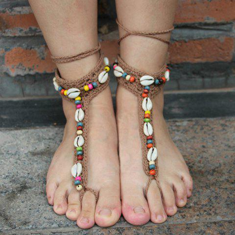 Sale Pair of Knitted Beads Conch Sandal Beach Anklets KHAKI