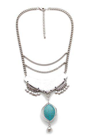 Ethnic Oval Faux Turquoise Pendant Necklace - WHITE GOLDEN