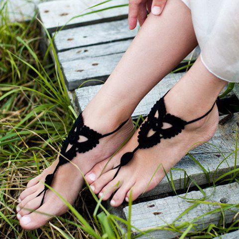 Store Pair of Charming Knitted Clover Sandal Anklets For Women