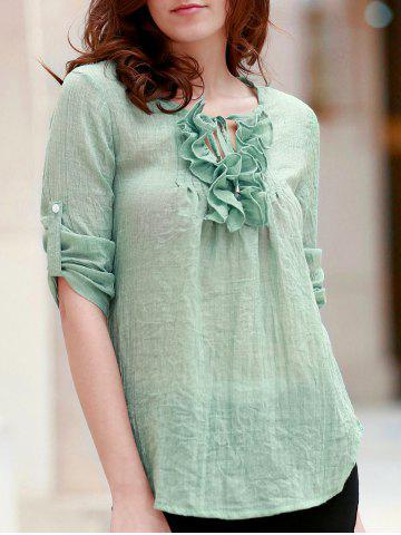 Fancy Refreshing Ruffles Jewel Neck Long Sleeve Thin Blouse For Women