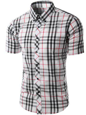 Buy Trendy Slimming Colorful Plaid Pattern Short Sleeves Button-Down Shirt For Men