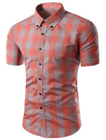 Shirt Trendy Slimming Plaid Colorful Pattern manches longues Button-Down For Men
