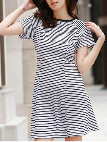 Outfits Brief Round Collar Stripe Short Sleeve Dress For Women