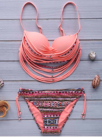 Unique Stylish Spaghetti Strap Strappy Embellished Printed Underwire Bikini Set For Women PINK S