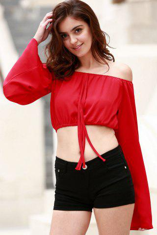 Stylish Boat Neck Puff Sleeve Off The Shoulder Chiffon Women's Crop Top
