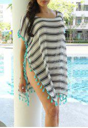 Scoop Neck Striped Tassel Spliced Tunic Cover-Up - STRIPE
