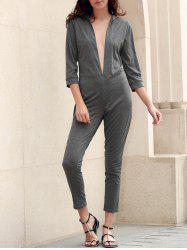 Sexy Plunging Neck 3/4 Sleeve Gray Slimming Jumpsuit For Women -