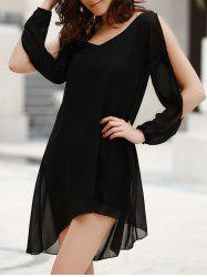 Stylish Scoop Neck Long Sleeve Solid Color See-Through Asymmetrical Hollow Out Dress For Women - BLACK L