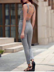U Neck Sleeveless Open Back Jumpsuit - GRAY