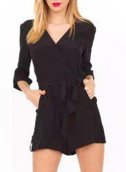 Elegant V-Neck Black 3/4 Sleeve Romper For Women -