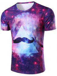 Vogue 3D Colorful Starry Sky Beard Print Round Neck Short Sleeves T-Shirt For Men -