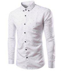 Casual Shirt Collar Trident Print Long Sleeves Slimming Button-Down Shirt For Men -