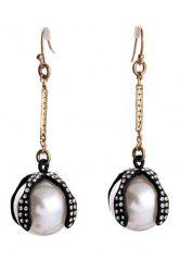 Pair of Stylish Faux Pearl Decorated Drop Earrings For Women -