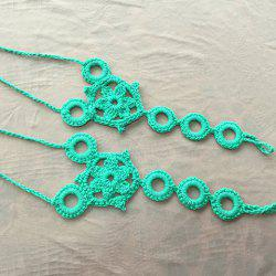 Pair of Trendy Knitted Circular Floral Sandal Anklets For Women -