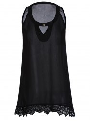 Casual Buttoned Sleeveless Lace Hem Asymmetric T-Shirt