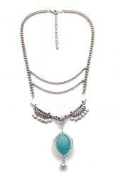 Ethnic Oval Faux Turquoise Pendant Necklace