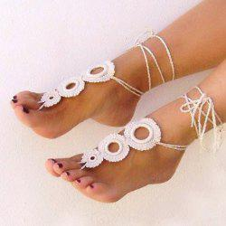 Pair of Chic Knitted Circular Hollow Out Sandal Anklets For Women -