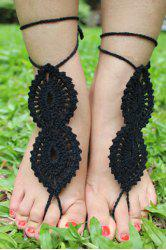 Pair of Graceful Knitted Infinity Sandal Anklets For Women