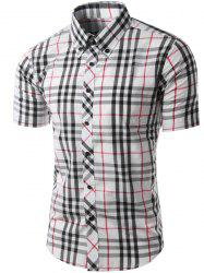 Trendy Slimming Colorful Plaid Pattern Short Sleeves Button-Down Shirt For Men -