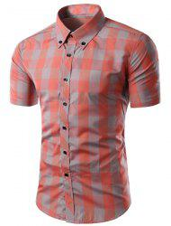 Shirt Trendy Slimming Plaid Colorful Pattern manches longues Button-Down For Men -