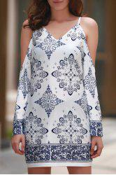 Stylish V Neck Cut-Out Floral Print Women's Dress -