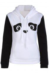 Hooded Long Sleeve Panda Pattern Hoodie - WHITE