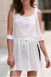 Stylish White Lace Spliced See-Through Women's Mini Dress