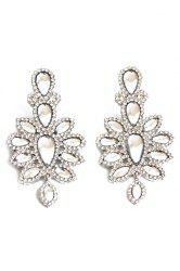 Pair of Dazzling Faux Crystal Floral Earrings For Women -