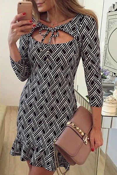 Store Attractive Argyle Printed Breast Cut Out Flounced Bodycon Dress For Women