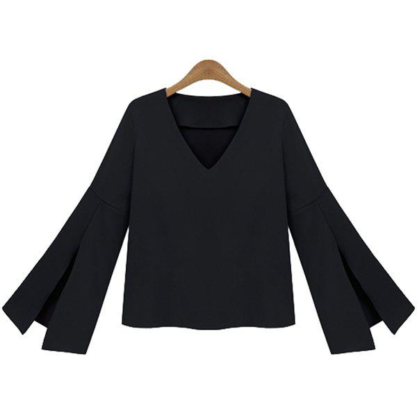 Store V-Neck Flare Sleeve Blouse