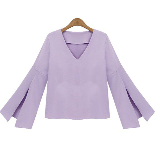 Elegant V-Neck Solid Color Flare Sleeve Blouse For Women от Rosegal.com INT