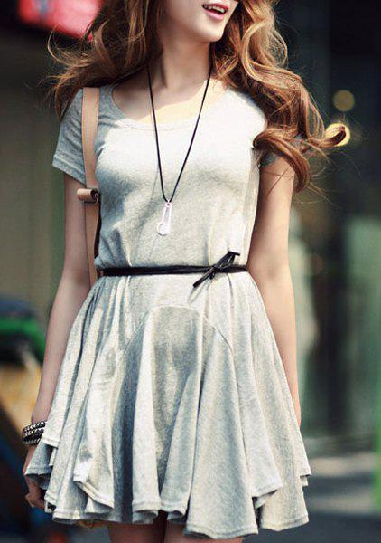 Chic Scoop Neck Short Sleeve Asymmetrical Pure Color Slimming Women's Dress от Rosegal.com INT