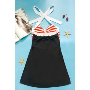 Halter Sailor Swimdress Stripe Tankini Top Bathing Suit - BLACK AND WHITE AND RED M