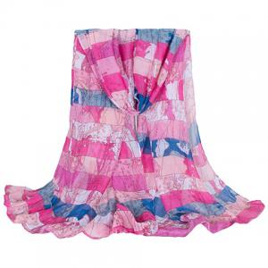 Fashionable Hemming Wide Striped and World Map Printing Voile Scarf For Women - Rose