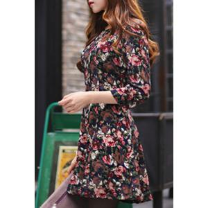 Elegant 3/4 Sleeve Floral Printed High Waist Dress For Women -