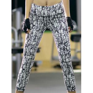 Sports High-Waisted Printed Slimming Women's Gym Cropped Pants - White - S
