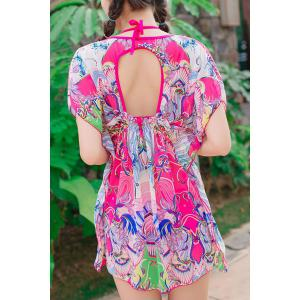 Fresh Style Halter Printed Three-Piece Hollow Out Ruffled Bathing Suit For Women -