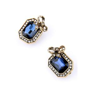 Pair of Retro Faux Crystal Rectangle Earrings For Women -