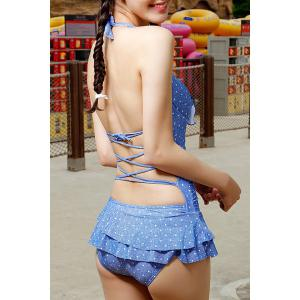 Cute Halter Polka Dot Backless Ruffled One-Piece Swimsuit For Women - Blue - L