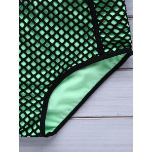 Trendy Strappy Openwork High-Waisted Bikini Set For Women - GREEN M