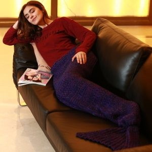 Artist Playfully Redesigns Cozy Mermaid Tails Knitted Blankets and Throws - PURPLE W31.50INCH*L70.70INCH